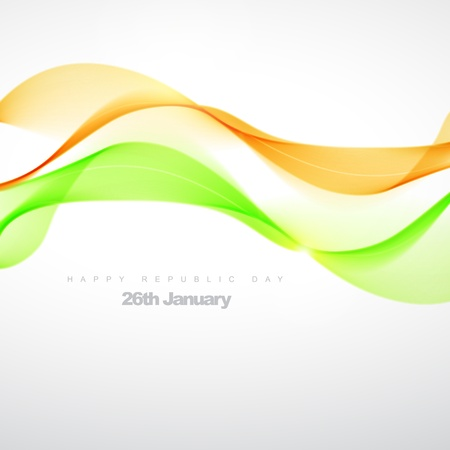 aug: beautiful orange green wave illustration Illustration