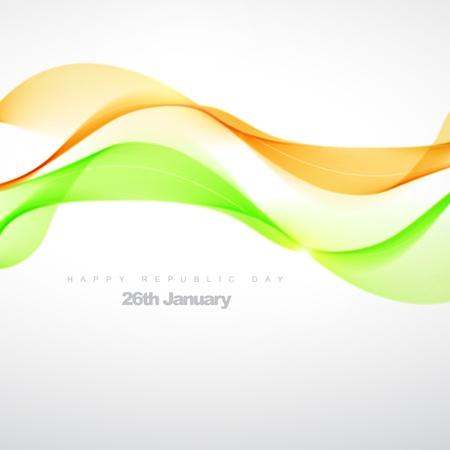drapeau inde: belle illustration orange vague verte