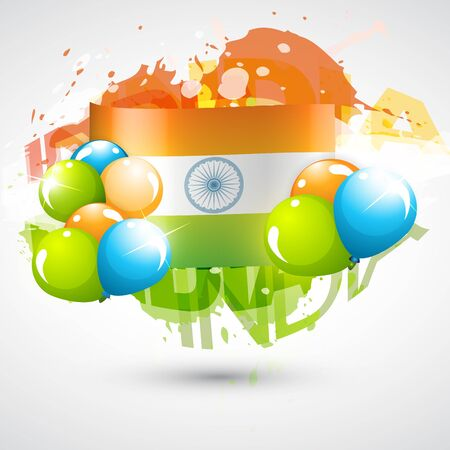 abstract style indian flag design with balloons