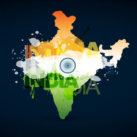 インド: 地図とインドの旗  イラスト・ベクター素材