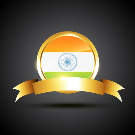 indian flag label in tricolor Vector