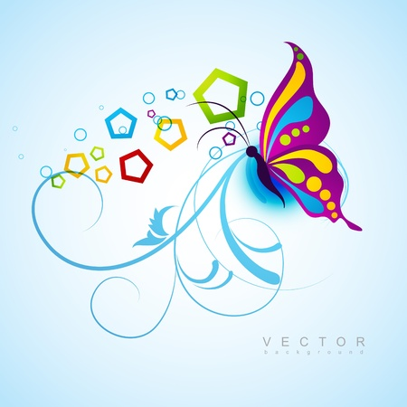 abstract swirls: artistic butterfly design background