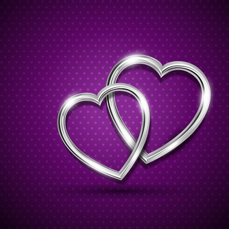 beautiful shiny metallic heart illustration Vector