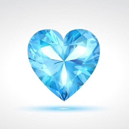 heart diamond: blue valentine heart Illustration