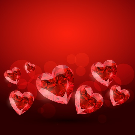 stylish red diamond shape heart design Vector