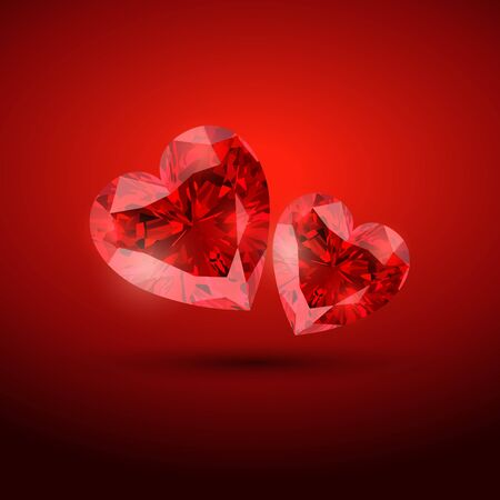 beautiful valentine diamond shape hearts Vector