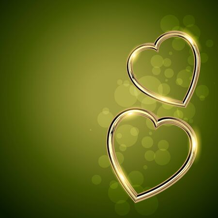 beautiful golden heart shape valentine day background Vector