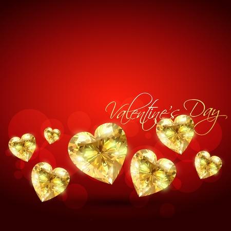 heart diamond: golden valentine shape design Illustration