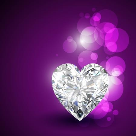 morado: hermosos diamantes corazones de San Valent�n forma Vectores