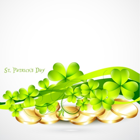 beautiful st patricks day illustration with gold coins Vector