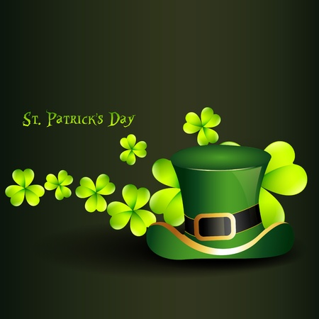 st. patrick's day hat with clover on background Stock Vector - 12497449