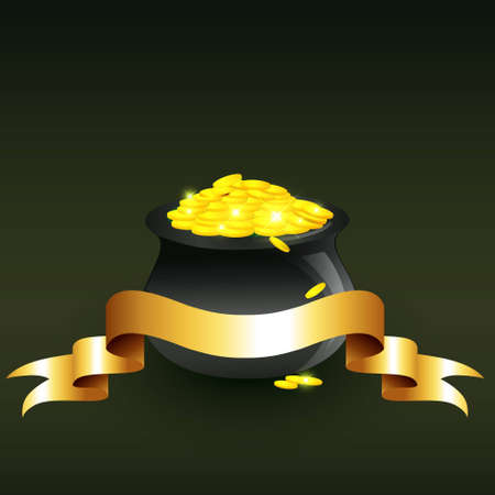 cauldron full of gold coins illustration Vector