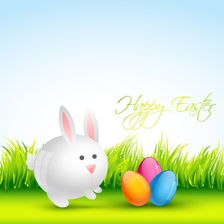 cute colorful easter bunney with eggs design Vector