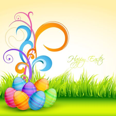 colorful easter eggs with beautiful florals Vector