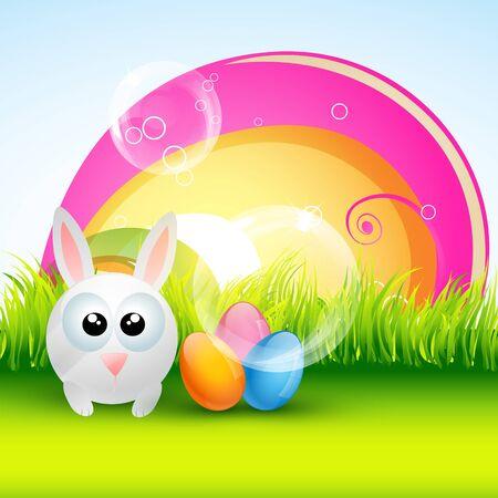 beautiful colorful easter rabbit design Vector