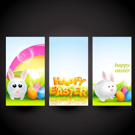 set of three easter cards design Vector