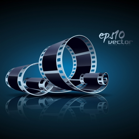 realistic 3d film reel Vector