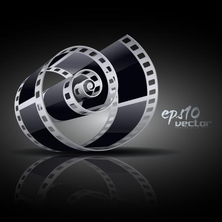 carrete de cine: carrete de pel�cula en 3D realistas