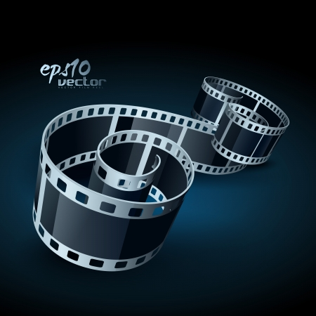 realistic 3d film reel Stock Vector - 13835390