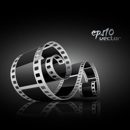negative spaces: realistic 3d film reel Illustration
