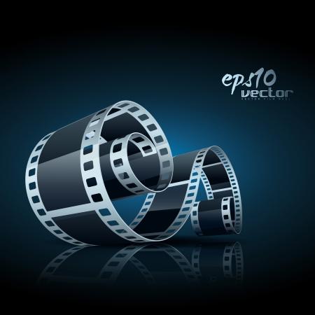 realistic 3d film reel Vector