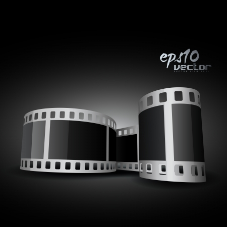 realistic 3d film reel Stock Vector - 13835209