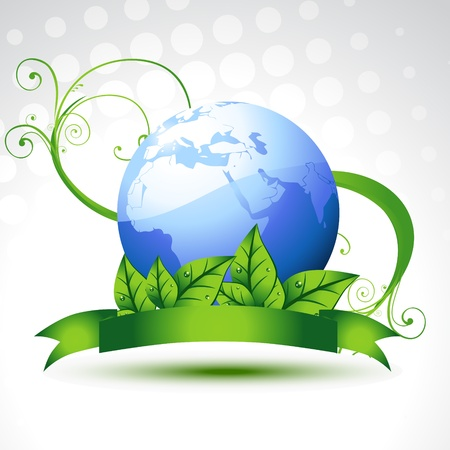leaf water drop: beautiful vector earth with leafs Illustration