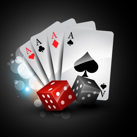 set of playing card with dices Vector