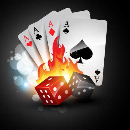 playing card with burning dices Vector