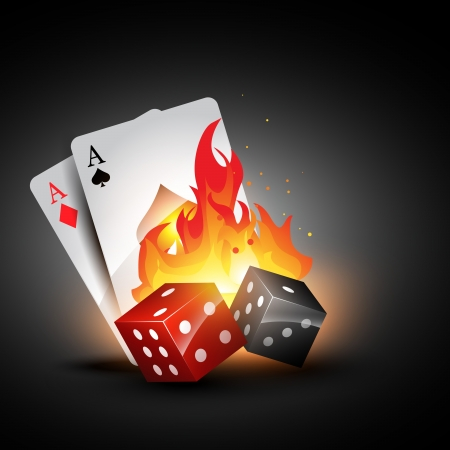 dices: dices burning design with playing card illustration Illustration