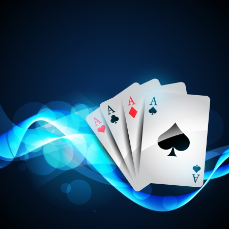 playing cards on beautiful glowing blue background Stock Vector - 13917372