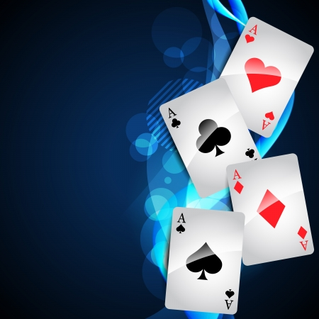 spades: playing cards on beautiful glowing blue background