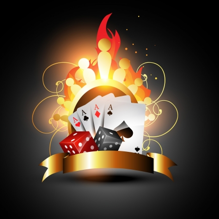 ace hearts: playing card with burning dices