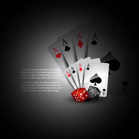 jeu de carte: cartes à jouer avec le fond de dés belle