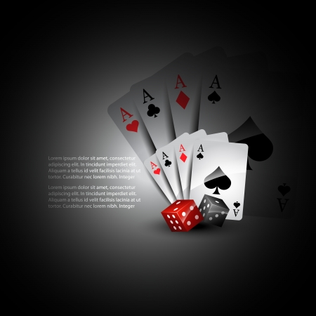 playing card with dices beautiful background Vector