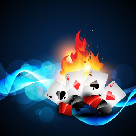 burning casino playing cards design Vectores