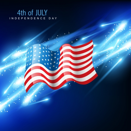 american flag with glowing blue background Vector