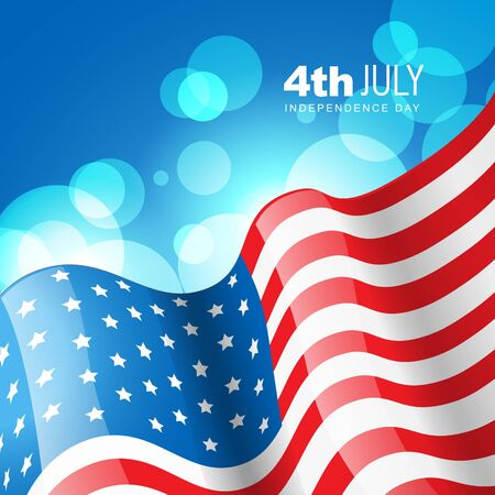 american flag with glowing blue background Stock Vector - 14231806
