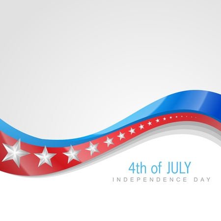 stylish american independence day wave art Illustration