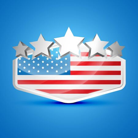 american flag label illustration Stock Vector - 14231825