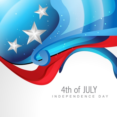creative wave style 4th of july background Vector
