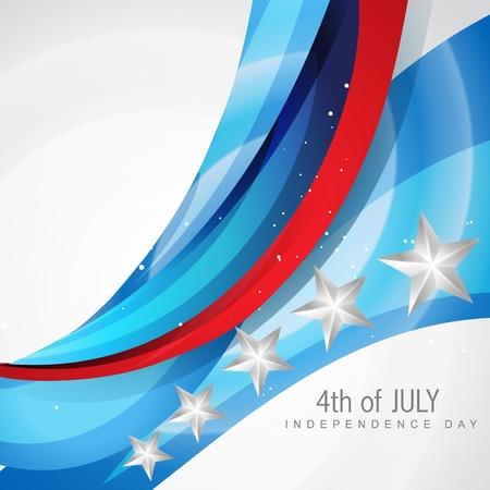 네번째: 웨이브 스타일 amercian 독립 기념일 플래그 일러스트