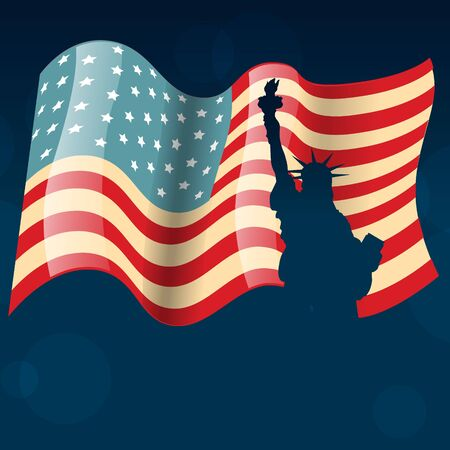 american flag with statue of liberty Vector