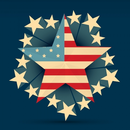 creative american flag with stars around it Vector