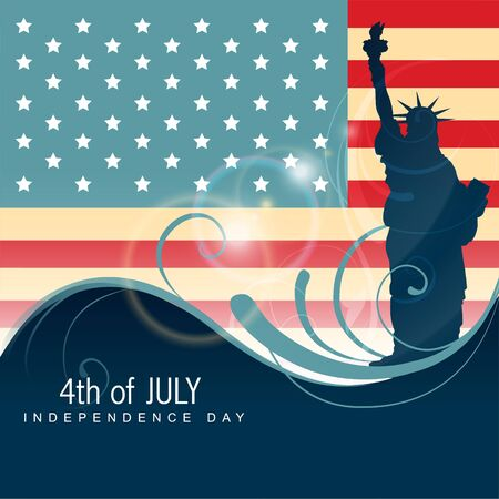 stature of liberty shillouette on background Vector