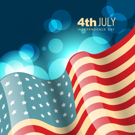 democratic: amercian independence day flag in wave style Illustration