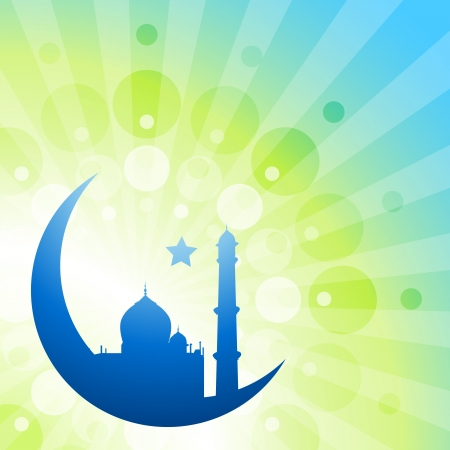 islamic pray: beautiful ramadhan kareem vector illustration with moon and mosque
