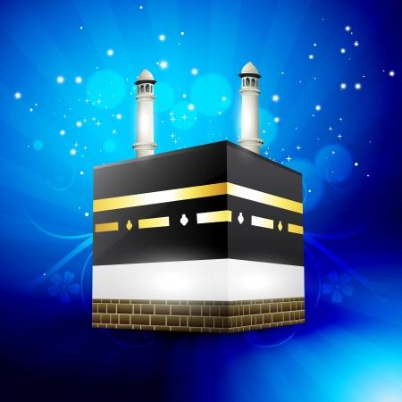 fitr: beautiful qaaba sharif vector illustration