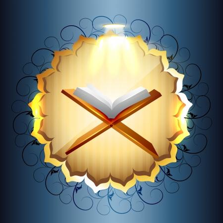 islamic pray: religious book of quraan vector illustration