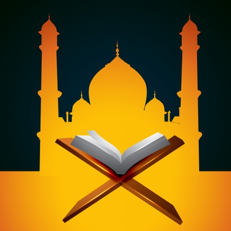 quran: vector holy quraan book in front of mosque Illustration